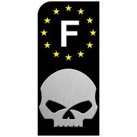 1 sticker pour plaque d'immatriculation MOTO, HARLEY DAVIDSON Skull, noir