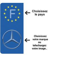 2 stickers pour plaque d'immatriculation AUTO personnalisés, gauche EU, Bleu ou Noir