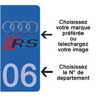 2 stickers pour plaque d'immatriculation AUTO personnalisés avec le N° du departement, Bleu ou Noir