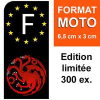 1 sticker pour plaque d'immatriculation MOTO, Dragons Targaryen Edition limitée 300 ex.