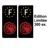 2 stickers pour plaque d'immatriculation noire, Dragons Targaryen Edition limitée 300 ex.