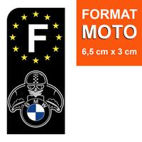 1 sticker pour plaque d'immatriculation MOTO, F - NOIR - BMW MOTORAD