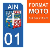 1 sticker pour plaque d'immatriculation MOTO , 01 AIN