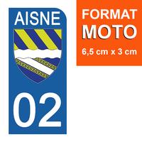 1 sticker pour plaque d'immatriculation MOTO , 02 AISNE