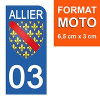 1 sticker pour plaque d'immatriculation MOTO , 03 ALLIER