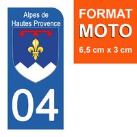 1 sticker pour plaque d'immatriculation MOTO , 04 ALPES DE HAUTES PROVENCE