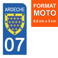 1 sticker pour plaque d'immatriculation MOTO , 07 ARDECHE