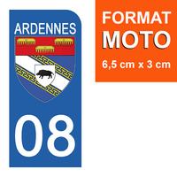 1 sticker pour plaque d'immatriculation MOTO , 08 ARDENNES