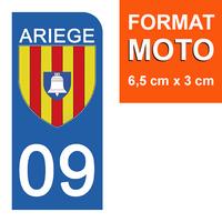 1 sticker pour plaque d'immatriculation MOTO , 09 ARIEGE