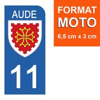 1 sticker pour plaque d'immatriculation MOTO , 11 AUDE