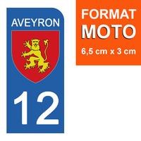 1 sticker pour plaque d'immatriculation MOTO , 12 AVEYRON