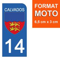 1 sticker pour plaque d'immatriculation MOTO , 14 CALVADOS