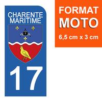 1 sticker pour plaque d'immatriculation MOTO , 17 CHARENTE MARITIME