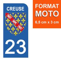 1 sticker pour plaque d'immatriculation MOTO , 23 CREUSE