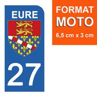 1 sticker pour plaque d'immatriculation MOTO , 27 EURE