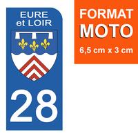 1 sticker pour plaque d'immatriculation MOTO , 28 EURE et LOIR