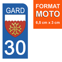 1 sticker pour plaque d'immatriculation MOTO , 30 GARD