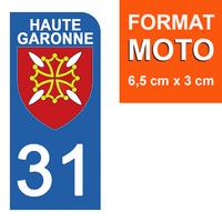 1 sticker pour plaque d'immatriculation MOTO , 31 HAUTE GARONNE