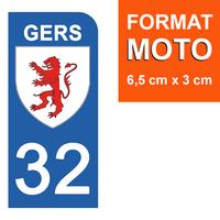 1 sticker pour plaque d'immatriculation MOTO , 32 GERS