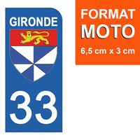1 sticker pour plaque d'immatriculation MOTO , 33 GIRONDE