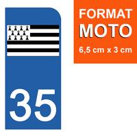 1 sticker pour plaque d'immatriculation MOTO , 35 ILLE et VILAINE
