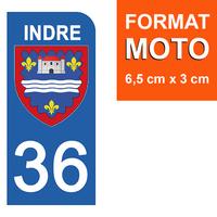 1 sticker pour plaque d'immatriculation MOTO , 36 INDRE