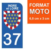 1 sticker pour plaque d'immatriculation MOTO , 37 INDRE et LOIRE