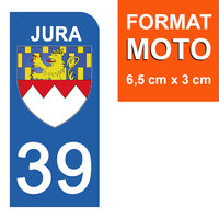 1 sticker pour plaque d'immatriculation MOTO , 39 JURA