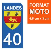 1 sticker pour plaque d'immatriculation MOTO , 40 LANDES