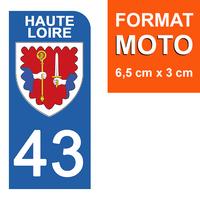 1 sticker pour plaque d'immatriculation MOTO , 43 HAUTE LOIRE