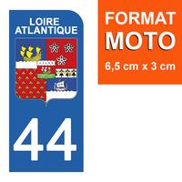 1 sticker pour plaque d'immatriculation MOTO , 44 LOIRE ATLANTIQUE
