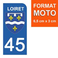 1 sticker pour plaque d'immatriculation MOTO , 45 LOIRET