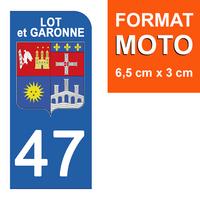 1 sticker pour plaque d'immatriculation MOTO , 47 LOT et GARONNE