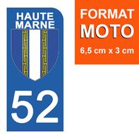 1 sticker pour plaque d'immatriculation MOTO , 52 HAUTE MARNE