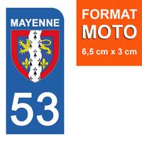 1 sticker pour plaque d'immatriculation MOTO , 53 MAYENNE