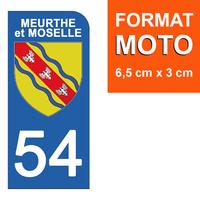 1 sticker pour plaque d'immatriculation MOTO , 54 MEURTHE et MOSELLE