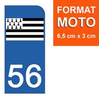 1 sticker pour plaque d'immatriculation MOTO , 56 MORBIHAN