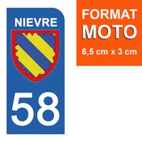 1 sticker pour plaque d'immatriculation MOTO , 58 NIEVRE