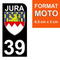 1 sticker pour plaque d'immatriculation MOTO , 39 JURA , noir