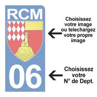 PERSONNALISEZ votre sticker pour plaque d'immatriculation MOTO, Bleu ou Noir