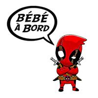 Sticker Bébé à bord ! Baby Deadpool determiné