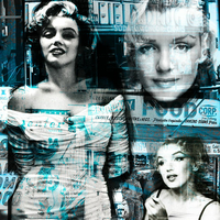 Impression photo sur toile, MARILYN MONROE in Blue, 50 cm x 50 cm