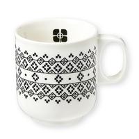 Mug en porcelaine, Fleurs géométriques noires, de Mr and Mrs Clynk