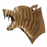 Trophée animalier, Puzzle 3D en carton à monter, Simon le loup