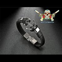 Bracelet Homme en cuir, SAINT TROPEZ noir