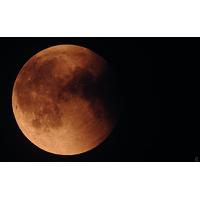 Eclipse et lune rouge, juillet 2018, Impression photo HD sur plexiglas 120 cm x 75 cm
