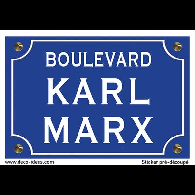Sticker plaque de rue, KARL MARX
