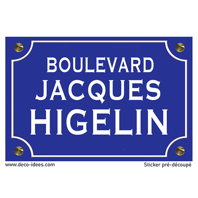 Sticker nom de rue, JACQUES HIGELIN