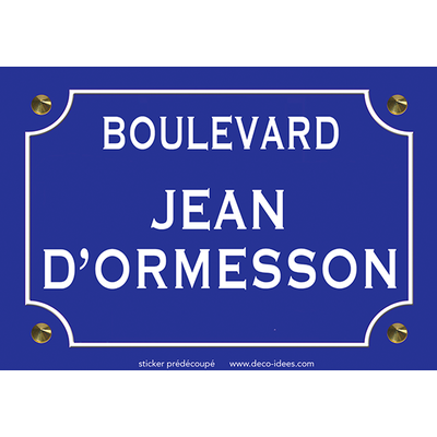 Sticker plaque de rue, JEAN D'ORMESSON