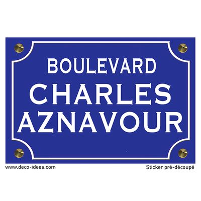 Sticker plaque de rue, Charles Aznavour